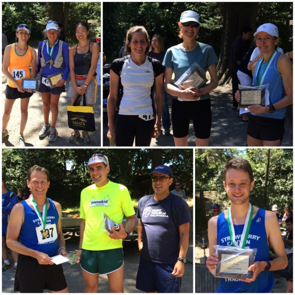 Top left: Open women, Open women, Ellen Clark 2nd, Beth Vitalis, 1st, Valerie Kao 4th; Top right: Ruth Anderson Cup, Martha Gilbertson 4th, Laura McCreery 3rd, Nancy Simmons 1st; Bottom left: Joe King Cup, Scott Strait 1st, John Spriggs 2nd, Ruben Ramirez 3rd; Bottom right: Open Men, Richie Ledonne 1st.